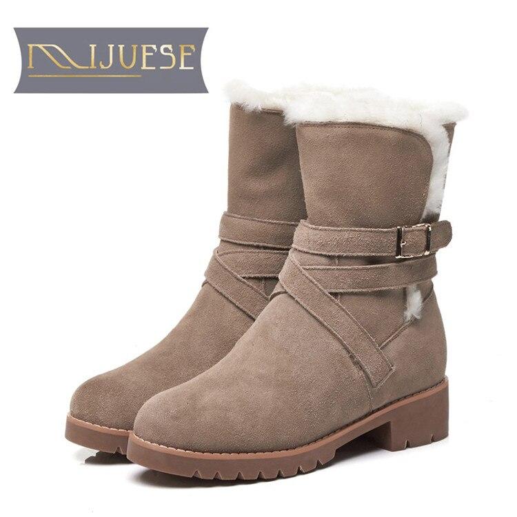 MLJUESE 2019 women snow boots Cow Suede buckle strap Khaki color winter fur warm wool blend boots women ankle boots size 33-40 lapel flap pocket color block wool blend blazer