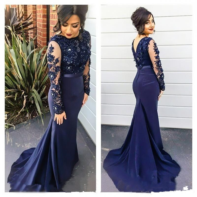 Navy Blue Muslim   Evening     Dresses   2019 Mermaid Long Sleeves Lace Beaded Islamic Dubai Saudi Arabic Long   Evening   Gown Prom   Dress