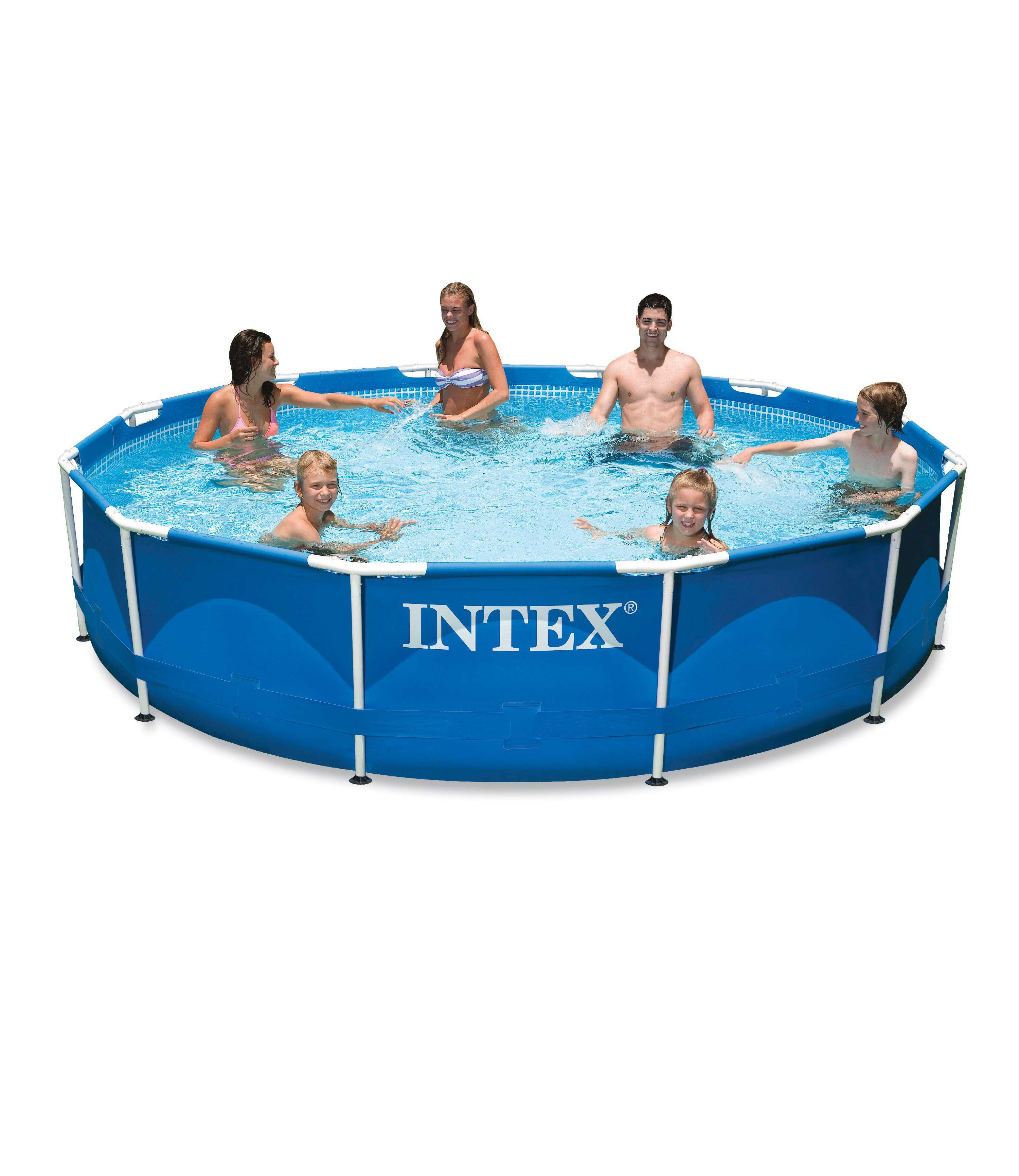 Scaffold Round Pool For Garden Summer Leisure Outdoor Size 305x76 Cm, 4485 L, Intex Metal Frame, Item No. 28200