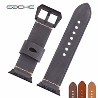 EACHE 42mm Watch Straps Band Fit For Apple Watch Genuine leather Watch Band Light/Dark Brown Yellow GreyFor iwatch Women Or Men