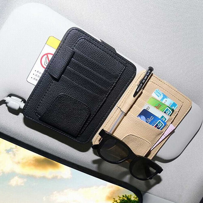Car Sun Visor with Card Holder Auto Anti Dazzling Tools Multifunctional Glasses Pen Clip PU Leather Cars Interior Accessories