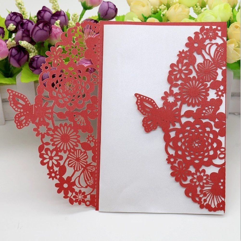 10pcs Butterfly Hollow Wedding Invitation Cards Card Paper and Cover ...