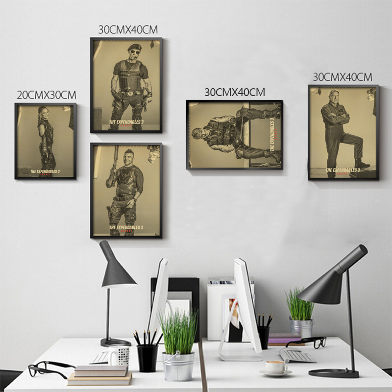 Sylvester Stallone B gather The Expendables 3 Home Furnishing decoration Kraft Movie Poster Drawing core Wall stickers