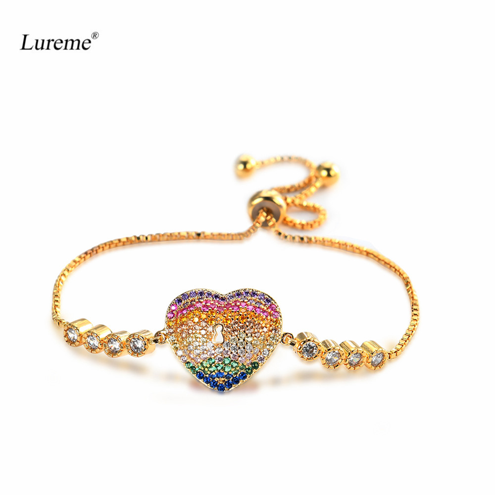 Lureme Gold Color Brass CZ Paved Rainbow Heart Charm Pullstring Adjustable Bracelet for Women Love Bracelets Jewelry (bl003092)