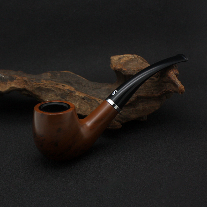 Classic nostalgic creative Dry pipe Portable with Bent Type Handmade Smoking Accessories curved circular filter