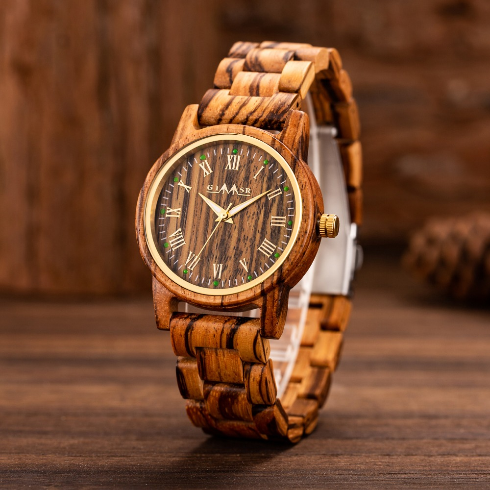 Top marque hommes montres en bois Unique homme montre en bois à la main Quartz montre-bracelet homme Sport lumineux mains horloge Masculino