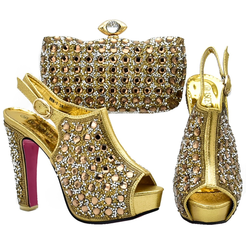 цены Gold african aso ebi shoes and bag to match women sandal shoes and clutches bag shinning high quality shoes and bag SB8131-2