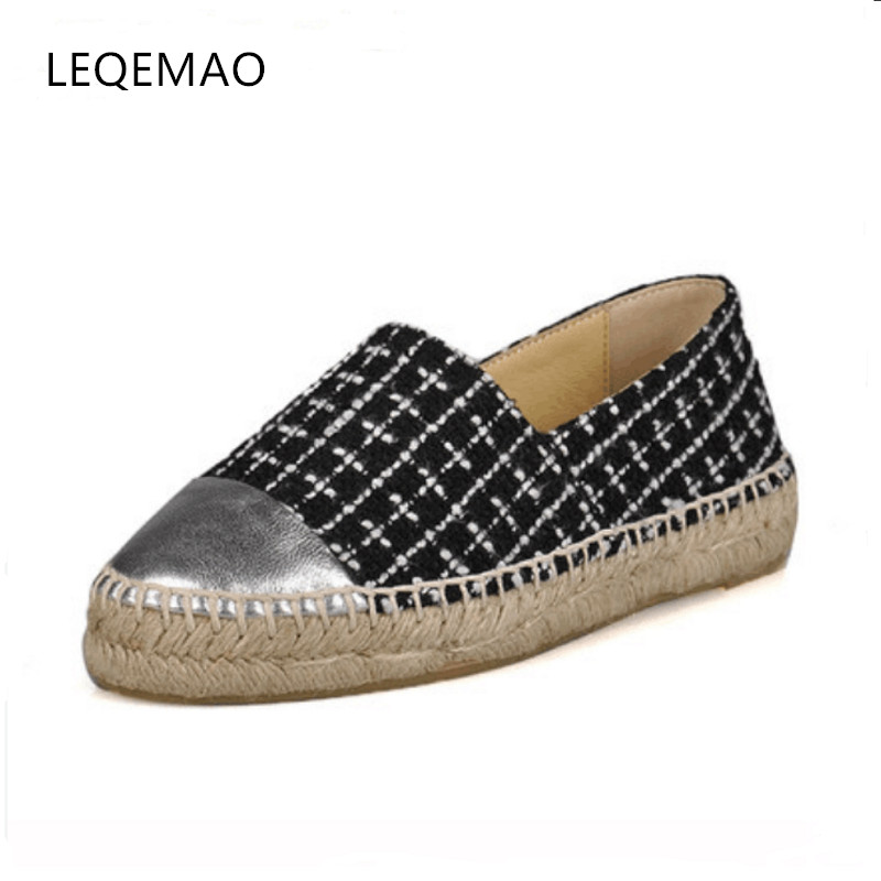 Hot Sale Big Size 34-42 Slip-On Round Toe New Fashion Four Seasons Women Flats Canvas Espadrilles Casual Ladies Loafers Shoes new round toe slip on women loafers fashion bow patent leather women flat shoes ladies casual flats big size 34 43 women oxfords