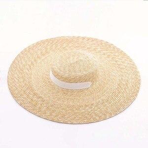 Image 4 - Elegancki naturalny 18cm duży słomkowy kapelusz z sznurowanym szerokim rondem Kentucky Derby kobiet kapelusz wstążka dziewczyna lato ochrona przed słońcem kapelusz plażowy