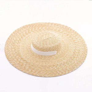 Image 4 - Elegant Natural 18cm Big Straw Hat with Lace Up Wide Brim Kentucky Derby Women Hat Ribbon Girl Summer Sun Protection Beach Hat