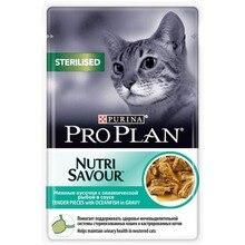 Влажный корм Pro Plan Nutri Savour для взрослых стерилизованных кошек и кастрированных котов с океанической рыбой в соусе, Пауч, 24х85 г.