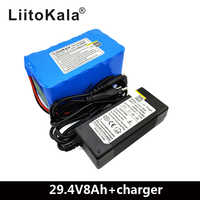 LiitoKala 24V 8ah Electric bicycle Lithium Ion Battery 29.4V 8000mAh 15A BMS 250W 24V 350W 18650 Battery Pack Wheelchair Motor