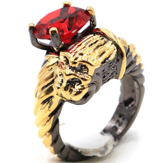 23x17mm Sublime antika eski oluşturulan kan yakut leopar bayan hediye siyah altın gümüş yüzük