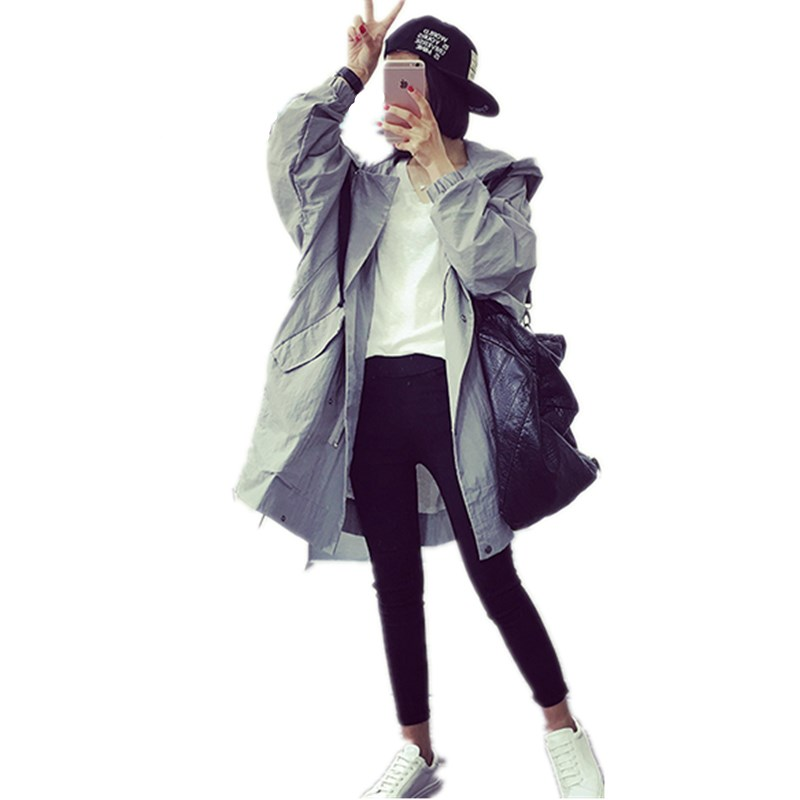 Fashion Women Ladies Oversized Boyfriend Long Sleeve Pockets Hooded Coat Outwear Casual Vintage Autumn Winter Trench Coat stylish hooded drawstring boyfriend trends pockets women s jean coat