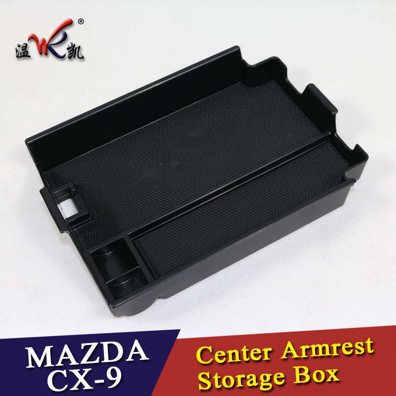 Plastic car-styling Auto Car Accessories Interior Car Center Armrest Storage Glove Box 1set for MAZDA <font><b>CX</b></font>-9 <font><b>CX</b></font>-8 2016 2017 <font><b>2018</b></font> image