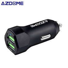 AZDOME Car Charger Mini Metal Dual USB Car Adaptor (17W/3.4A) iSmart Charging For iPhone X/iPhone 8/8 Plus, Galaxy S9/S8/Note 8(China)