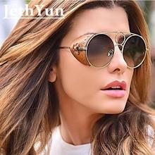 059d942df Rodada Óculos De Sol Das Mulheres Dos Homens de Couro marrom Moda Steampunk  Metal Óculos de