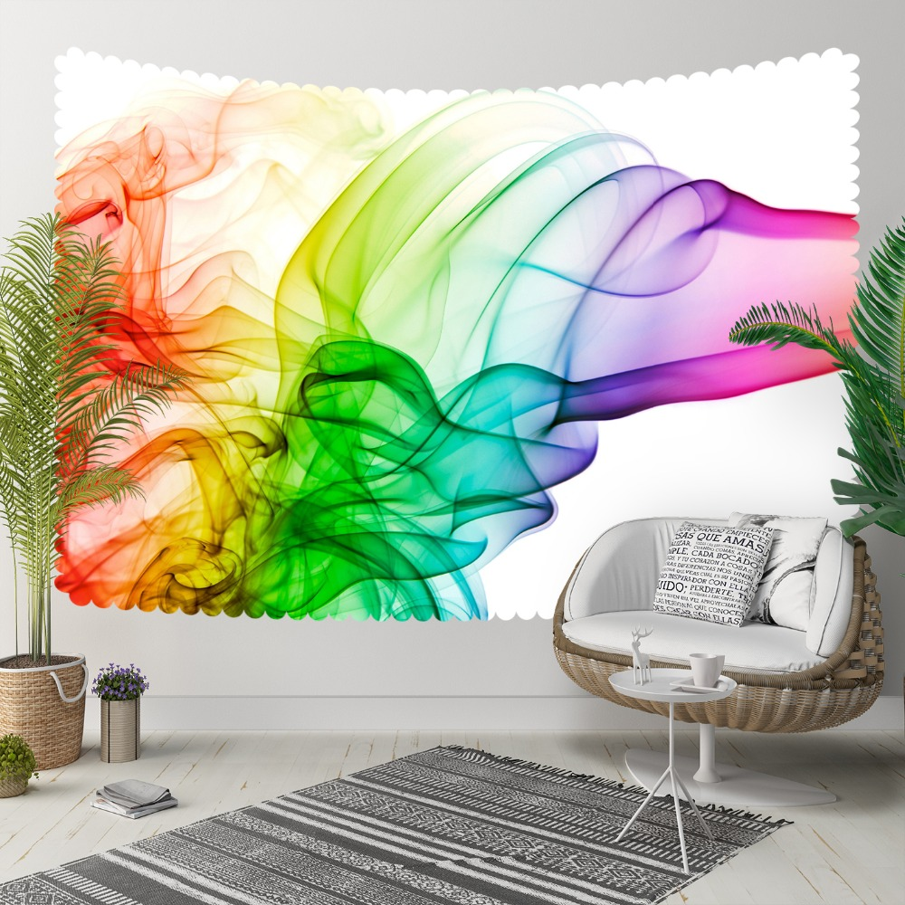 Else Green Purple Pink Yellow Smokes Design Modern 3D Print Decorative Hippi Bohemian Wall Hanging Landscape Tapestry Wall Art
