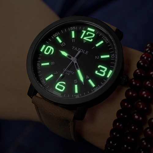 2017 Fashion Men Women Glow in The Dark Faux Leather Strap Quartz Sport Wrist Watch faux leather strap floral face watch