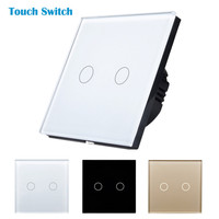 FREE Shipping Wall Touch Switch Luxury Crystal Glass Normal 2 Gang 1 Way Switch Wall Light