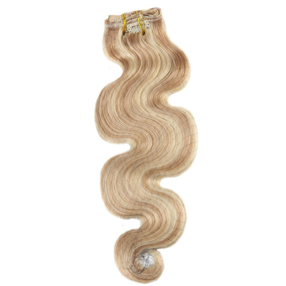 Moresoo Body Wave Clip In Hair Extension Remy Hair 7Pcs Set 100g Golden Blonde Highlighted With Platinum Blonde #P12/613 Hair