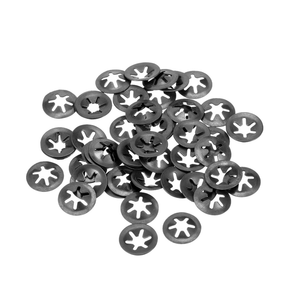 Uxcell 50pcs/lot M4 Internal Tooth Starlock Washer High Quality Lock Washers Push On Locking Speed Clip 65Mn Black Oxide Finish