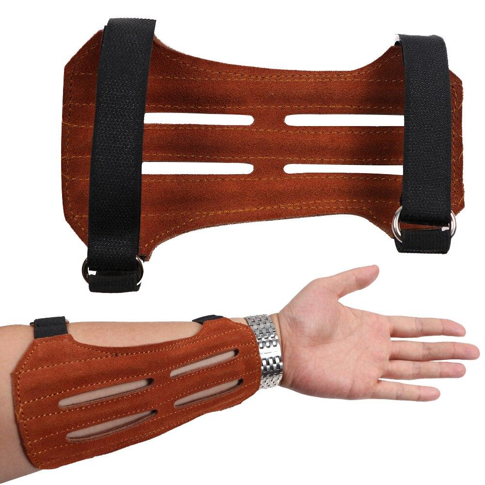 Hohe Qualität Schießen Bogenschießen Pfeil Wildleder Bogenschießen Armschutz Schutz Sicheren Band Armband Braun
