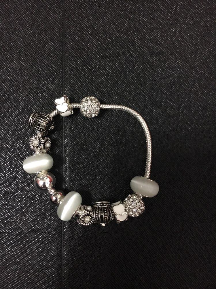050f5225b BAMOER Silver Charm Bracelet & Bangle with Royal Crown Charm and ...