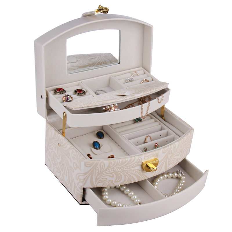 Large Jewelry Boxes And Packaging Girls PU Leather Display Organizer Rings Box Flower Pattern 3 Layers