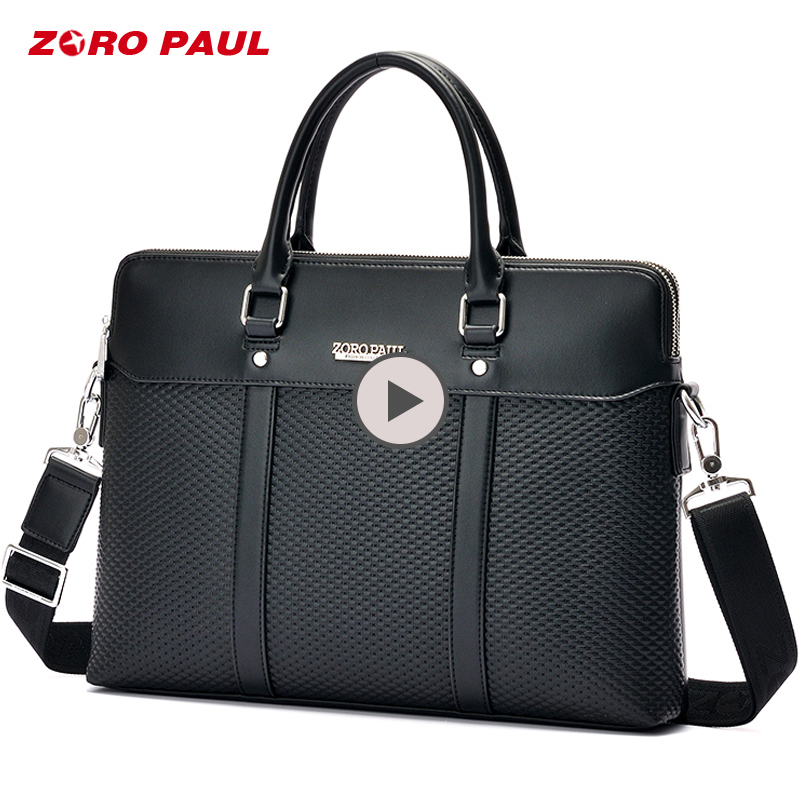 ZORO PAUL Business Men's Briefcase Bag Luxury Leather Laptop Men Shoulder Bag High Capacity Classic Black Tote Messenger bag цена 2017
