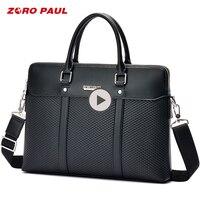 ZORO PAUL Business Men's Briefcase Bag Luxury Leather Laptop Men Shoulder Bag High Capacity Classic Black Tote Messenger bag