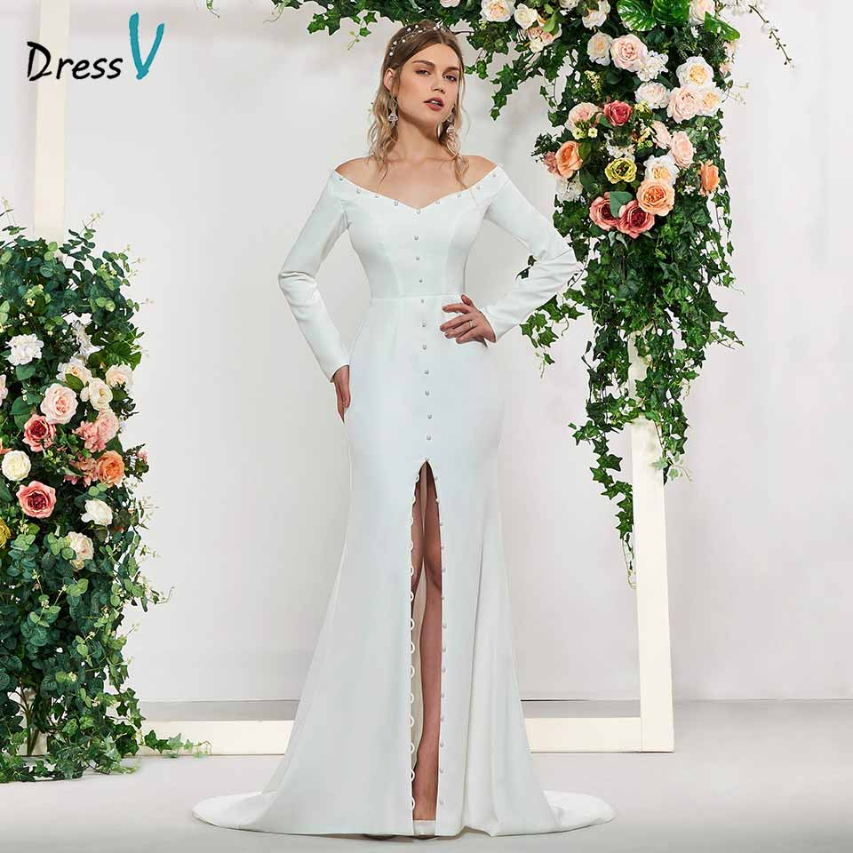 Dressv Elegant Ivory Long Sleeves Button Mermaid Wedding Dress Floor Length Simple Bridal Gowns Trumpet Wedding Dresses