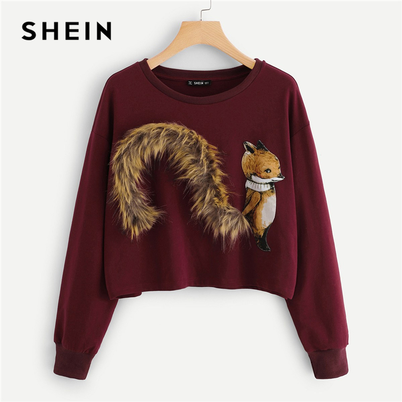 SHEIN Burgundy Faux Fur Fox Patch Sweatshirt Women Long Sleeve Round Neck Crop Pullovers Women Autumn Casual Sweatshirts