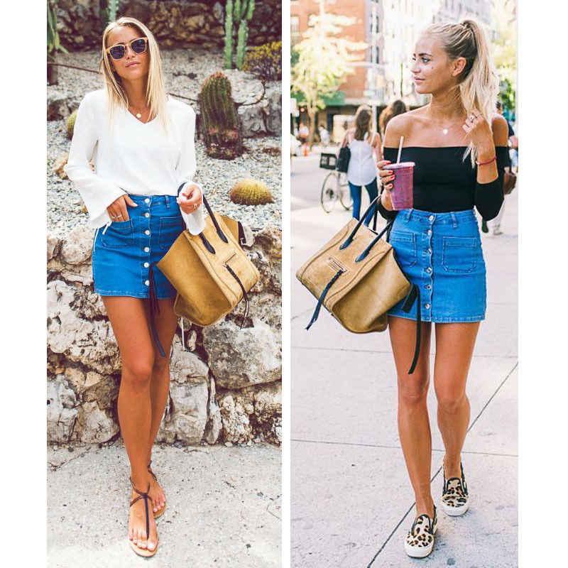 27fee577539 Модная женская джинсовая Летняя джинсовая юбка с высокой талией облегающая  Однотонная синяя бандажная тонкая пуговица Карандаш