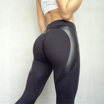 Black Heart Shape Booty Sport Pants Women PU Leather Patchwork Skinny Pants Women Leggins Push Up Workout Sport Yoga Leggings