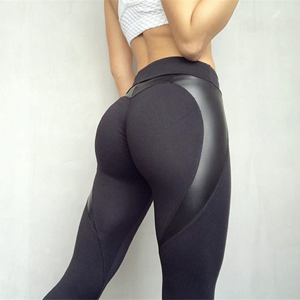 Forma de corazón negro botín Deporte Pantalones mujeres PU cuero Patchwork pantalones flacos mujeres Leggins Push Up entrenamiento deporte Yoga Leggings