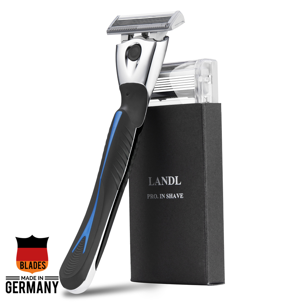 LANDL Blue Zinc Alloy Manual Shaving Razor Sharp 6 Layers Blades 1 Handle With 2pc X6 Blades