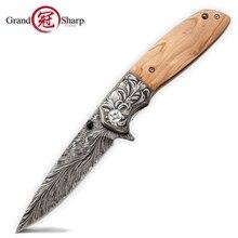 Кухонные ножи, Складные лезвия из нержавеющей стали, принадлежности для барбекю, кемпинга, охоты, Fishinig, тактические инструменты, натуральная оливковая деревянная ручка, Новинка