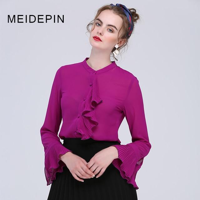 más baratas de calidad superior claro y distintivo € 35.11  Las mujeres americanas europeas elegante color sólido púrpura y  Rojo suelta Camisas Flare manga volantes casual gasa blusa más tamaño 4xl  en ...