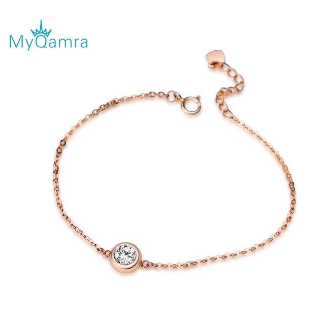 MYQAMRA18K rose gold Bo Bracelet female mosaic gold jewelry simple