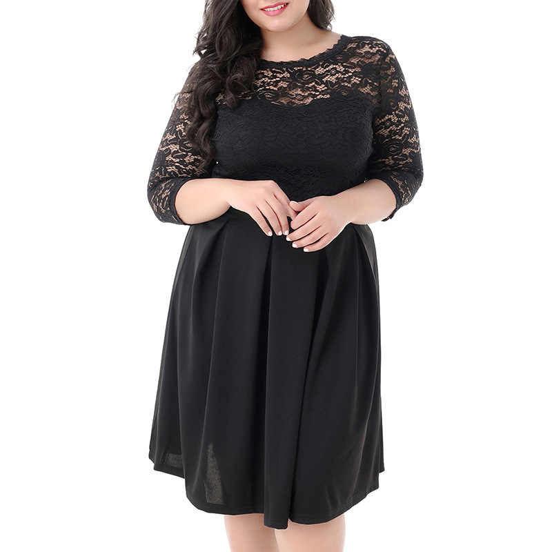3b0548e359 Women Summer Elegant Hollow Out Lace Embroidery Knee Length Formal Vintage  Little Black Plus Size A Line Party Dress 4xl 5xl 6xl