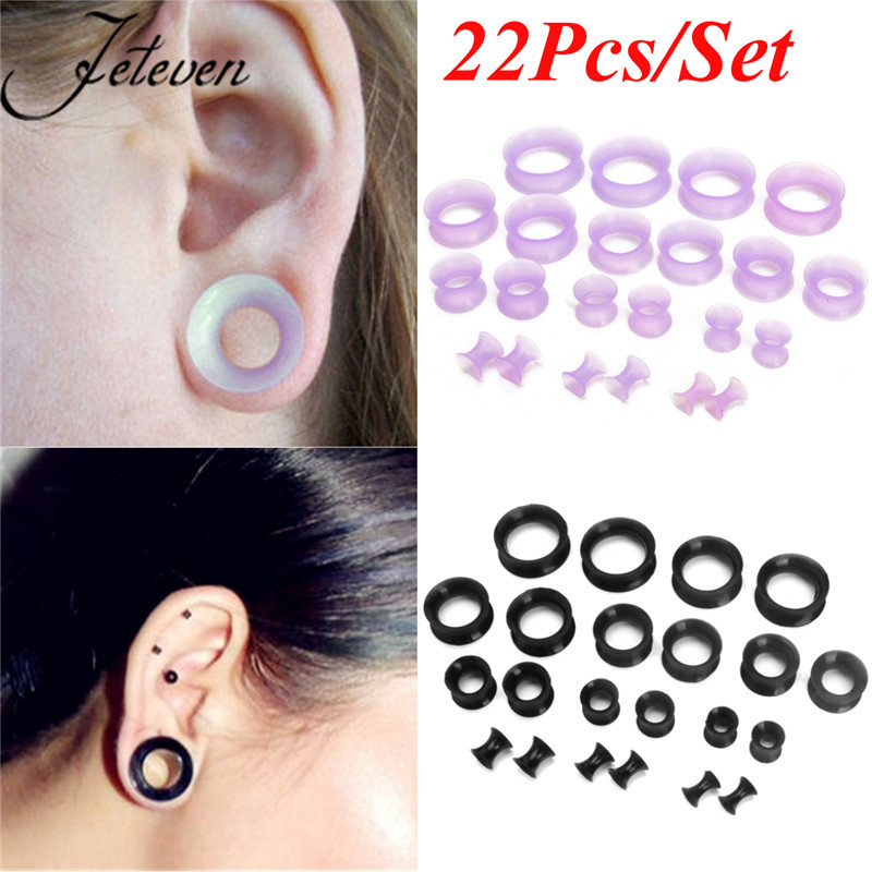 4 Pairs 4g-11//16 Mixed Natural Stone Ear Plugs Gauges Single Flared Stretchers Expander Silicone O-Rings