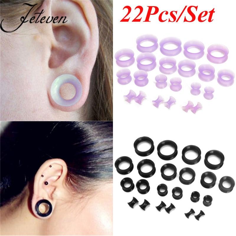 22 шт., набор для растяжки ушных туннелей и пробок из мягкого силикона, расширители ушей, расширители ушей, двойные расклешенные пирсинг