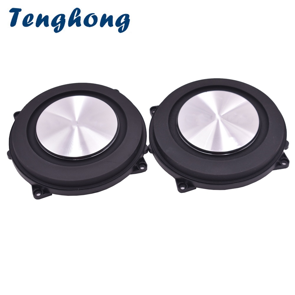 Tenghong 2pcs 4 Inch Bass Radiator Brushed Aluminum Auxiliary Speaker Bass Vibration Membrane Woofer Passive Speaker DIY 120MM