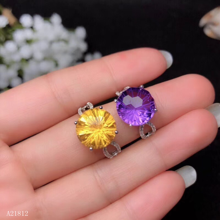 KJJEAXCMY Boutique Jewelry  High-quality Jewelry 926 Pure Silver Inlaid Amethyst Topaz Female Ring Support Detection
