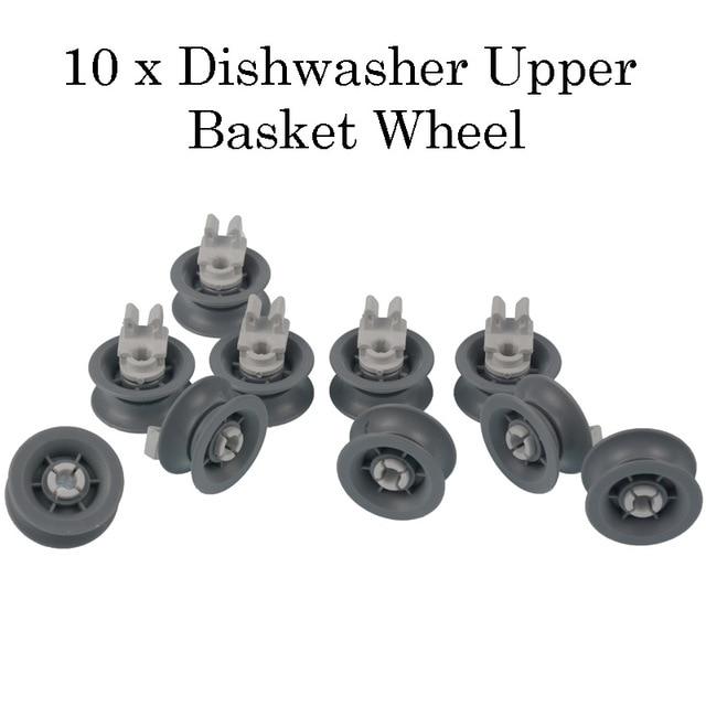 10 Pieces Dishwasher Upper Dishrack Wheel Suitable For Bosch & Siemens Dishwasher Upper Basket Wheel - 00165313, 00611666
