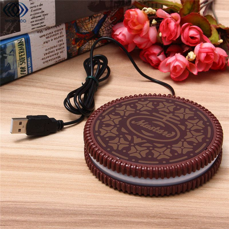 Mat Cup Warmer Milk Heater Coffee Mug Drink Coaster Tea Insulation USB Mug Heating Pad COOKIE Design Cup USB-POWERED UK wired muti function tea coffee cup mug warmer heater office pad with 4 port hub usb gadget for pc for mac aqjg