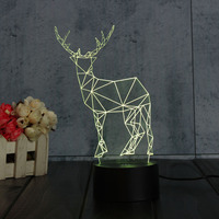Colorful 3D Visual Deer LED Night Lights Touch Button Switch USB Desk Table Lamp Baby Bedroom