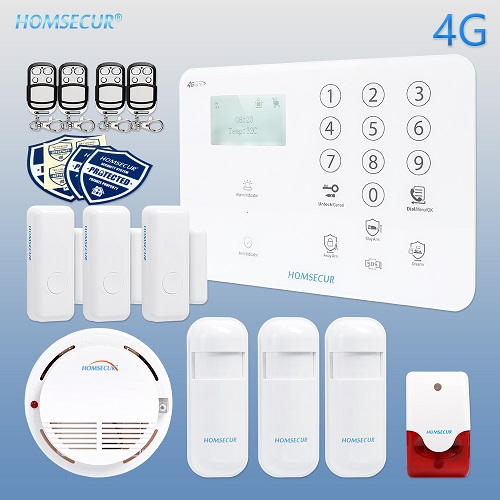HOMSECUR Wireless&wired 4G/3G/GSM LCD Home House Alarm System With Panic Button  4 Alarm Kits For Choice