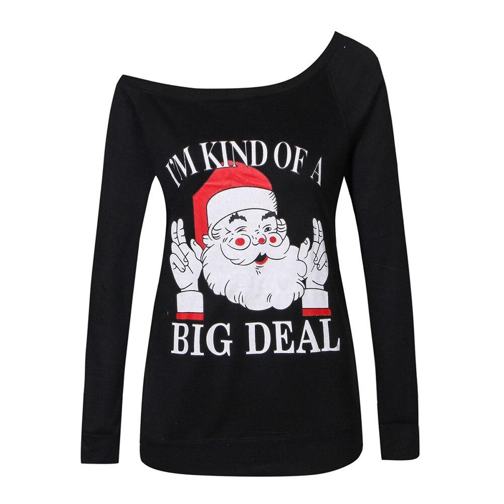 Women Autumn Winter Fashion Casual Pullover Off Shoulder Christmas Long Sleeve Santa Claus Shirts Warm Hoodies Sweatshirts